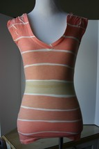 BCBGeneration Striped Top Woman XS V-Neck Apricot Ombre  - $7.91