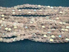 50 4 x 4 mm Czech Glass Cube Beads: Crystal AB - $1.64