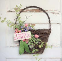 AGD Spring Easter Decor – Happy Easter Pink Glitter Grapevine Basket Wreath - $34.60
