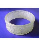 Vintage Clear Lucite Carved Leaf Bracelet Wide Cuff Bangle - $35.00