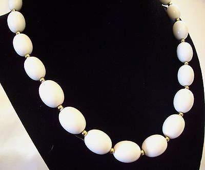 MONET White OVAL Beads Necklace CHOKER Gold Plated Spacers Vintage Estate Career