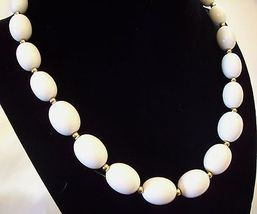 MONET White OVAL Beads Necklace CHOKER Gold Plated Spacers Vintage Estate Career image 4