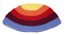 Judaica Frik Kippah Colorful Striped Knitted Cotton Stretch Israel 21 cm image 2