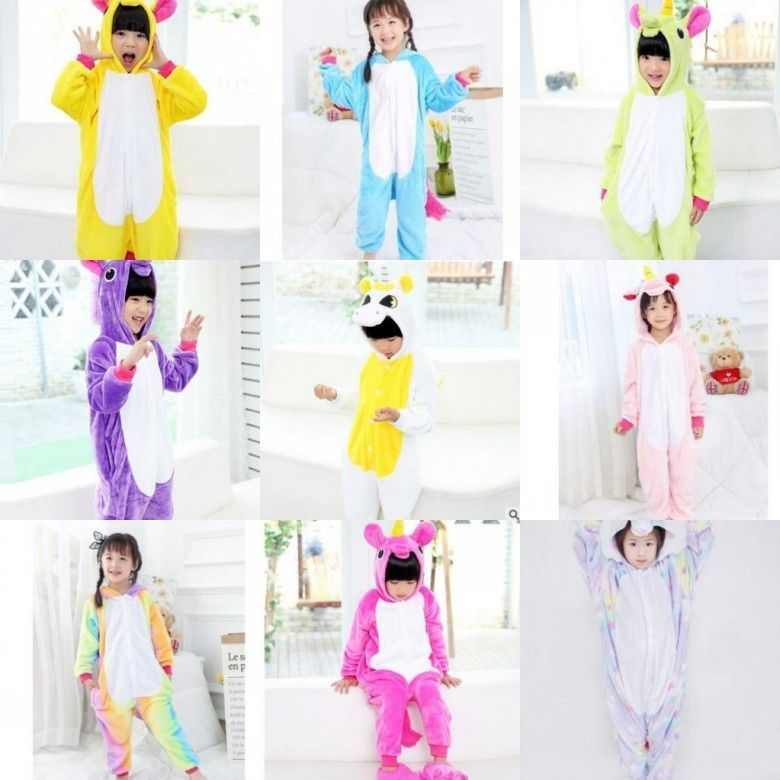 Primary image for Flannel tianma unicorn animal one-piece pajamas children men and women clothing