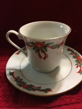 Poinsettia Ribbons Holiday Table Porcelain Tea Cup And Saucer - $86,73 MXN