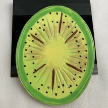 Vintage Funky Kiwi Fruit Brooch Pin Large Big Statement Green Wooden - $12.58
