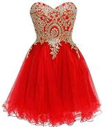 Lemai Red Tulle Gold Lace Rhinestones Short Prom Homecoming Cocktail Dre... - $89.99