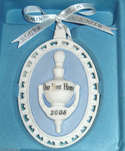 Wedgwood Our First Home Door Knocker Ornament 2008 Blue/White Jasperware... - $17.99