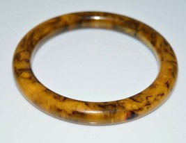 VTG Butterscotch Yellow Brown Marbled End of Day BAKELITE Bangle Bracelet (B) - $123.75