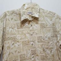 Aloha Hawaiian Shirt Flowers Leaves Size XL Extra Large Green White Camp... - $28.99