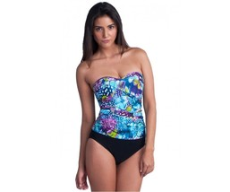 NWT GOTTEX swimsuit 8 draped shirred bandeau tummy control slimming stra... - $58.19
