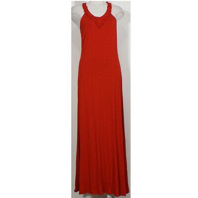 RALPH LAUREN Red Stretch Viscose Jersey Knit Macrame Neck Maxi Dress L image 4