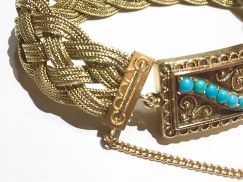 Victorian Persian turquoise clasp 14K 15k gold braided woven antique bracelet