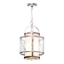 Bay Court Collection 1-Light Brushed Nickel Foyer Pendant with Etched Op... - $209.79