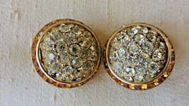 VINTAGE CORO EARRINGS ROUND W/ RHINESTONES CLIP ON GOLD TONE - $20.00