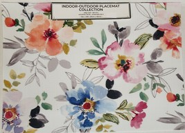 "Set of 4 PVC Indoor/Outdoor Polyvinyl Placemats (13""x18"") COLORFUL FLOWE... - $19.79"