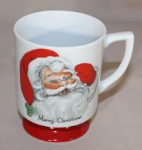 Vintage Lefton Merry Christmas Santa Claus Face Mug Red Footed Pedestal 7235 - $9.11