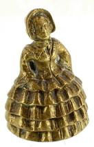 Antique Victorian Bronze Civil War Woman Ruffles Dress Decorative Handhe... - $64.79