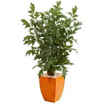 Indoor 5 ft. Fishtail Artificial Palm Tree in Orange Planter - $229.19