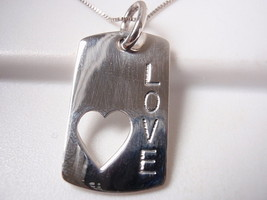 LOVE Tag with Cut Out Heart 925 Sterling Silver Pendant Corona Sun Jewelry - $4.94