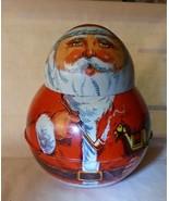 1980 Metal Roly Poly SANTA TIN by Chein FINE Bright Graphics - $19.80