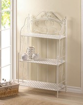 White Iron Bakers Rack with 3 Basket Weave Shelves and Scrolling Flourishes - $122.95