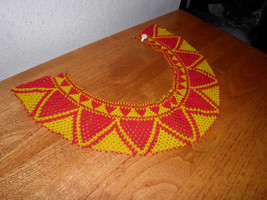 Native American Hand Beaded Collar Seed Bead Necklace Red & Yellow $20 O... - $54.81