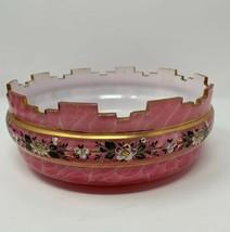 Vintage pink milk glass gold rim floral pattern bowl - $29.69