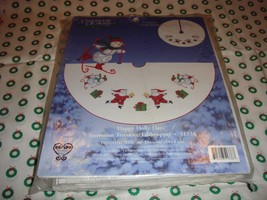 Cross Stitch Happy Holiday Snowman Tree Skirt-Tabletopper Kit  image 2