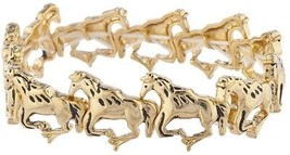 Lux Accessories Goldtone Wild Horses Running Stretch Bracelet - $12.13