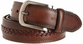 New Tommy Hilfiger Men's Premium 35Mm Braided Leather Belt Brown 11Tl02X047