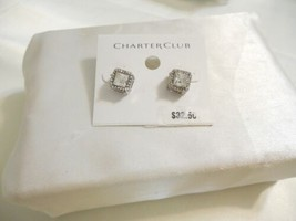 Charter Club Silver-Tone Crystal Square Stud Earrings K5860 - $12.47
