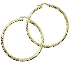 18K YELLOW GOLD CIRCLE HOOPS TUBE 3mm, BIG EARRINGS 5.5cm, SHINY FACETED SQUARES image 3