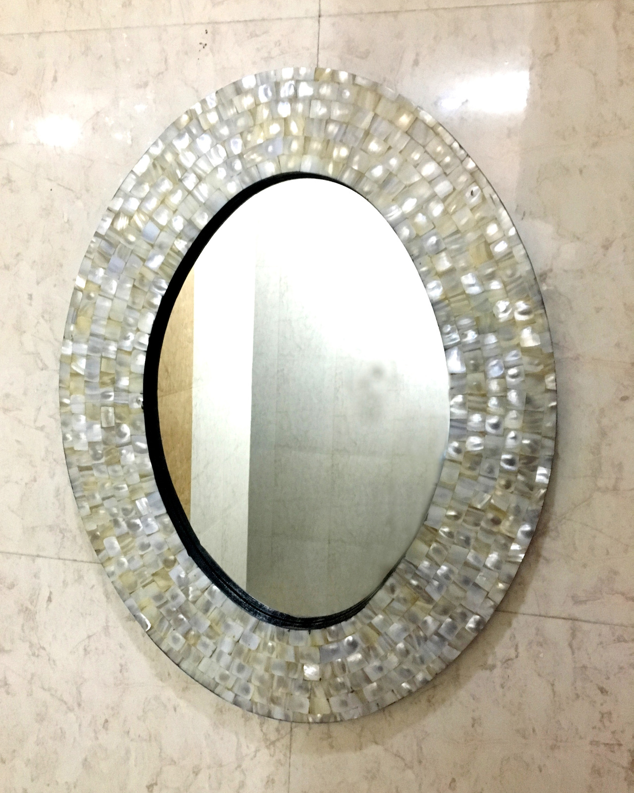 Decorative Beveled Oval Wall Mirror with White Mother of ...