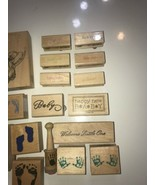 Rubber Stamp on Wood Vintage lot of 23 New Baby Welcome Little one , Its... - $46.74