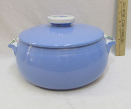 Hall Blue Casserole Dish Bowl w/ Lid Rose Parad... - $27.71