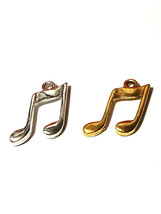 Music Note Fine Pewter Charm Pendant - 2mm L x 20mm W x 15mm D image 1