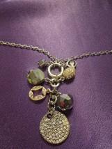 Beaded Chain Rhinestone Silver Tone Necklace W/ Toggle Clasp - $26.73