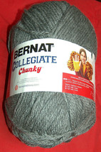 NEW Bernat Collegiate Chunky Acrylic 14 oz 400 g 431 yds Heather Grey Kn... - $16.81