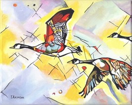 "Akimova: CANADIAN GEESE, acrylic, 8""x10"", birds - $40.00"