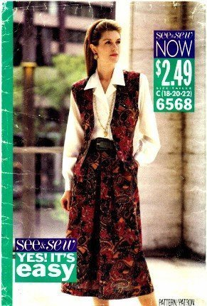 See & Sew 6568 Sewing Pattern Misses Vest Skirt Shirt Size 18 - 20 - 22 - $13.23