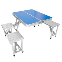 Portable Folding Picnic Table: Outdoor Aluminum Foldable Table w/ 4 Benc... - $65.99