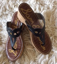 Sam Edelman Black Leather Wedges Sandals Womens 6.5 New In Box Ralphie - $49.99