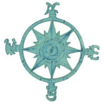"Cast Iron Nautical Compass Rose Wall Plaque Faded Blue Finish 11"" Home Decor - $19.99"