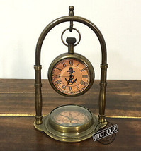 Vintage Table/Shelf Clock and Compass Brass Collectible vintage Home or Ofi - $35.57