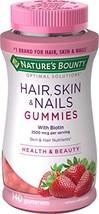 Nature's Bounty Vitamin Biotin Optimal Solutions Hair, Skin and Nails Gummies, 1