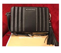 Michael Kors Jet Set Grommet East West Large Black Black Silver Cross Bo... - $109.00