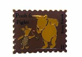 Walt Disney Collector Pin Winnie Pooh button pinback gold Stamp Piglet Buzzy vtg - $19.25