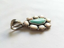 Vintage sterling silver 925 turquoise pearl oval teardrop pendant Thailand - £34.70 GBP