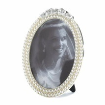 Oval Frame Holds 5x7 Photo Strands of Faux Pearls Topped with Glittering Stones  - $32.45